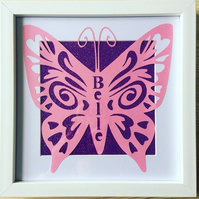 Personalised butterfly framed papercut