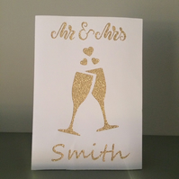 Personalised Mr and Mrs papercut wedding card