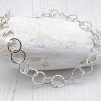 Chunky hammered sterling silver chain necklace