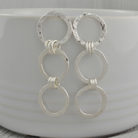 Long Sterling Silver Hammered Earrings