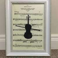 Handmade Papercut gift: Instruments and your favourite music print