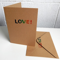 "Hand printed ""LOVE!"" card & matching envelope (inc FOE charity donation&UK post)"