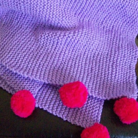 Throw lilac blanket cover knitted throw purple with bright pink pom poms