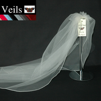Wedding Veil Ivory Plain Veil  Fine Edge 1 Single Tier Short Shoulder Length 143