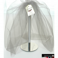 Wedding Veil Silver Grey Crystal Veil Bouffant 2 Tier Elbow Waist Length LB 154