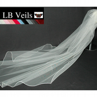 Wedding Veil Ivory Crystal All Over Fine Edge 1 Single Tier Floor Length 144