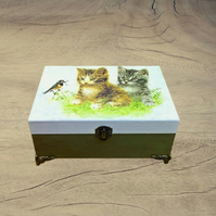 Wooden Jewelry Box, Jewelry Organizer, Memory Box, Birds and Cats