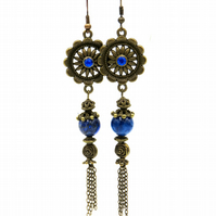 Lapis Lazuli Gemstone Earrings, Blue Gemstone Earrings, Handmade Earrings
