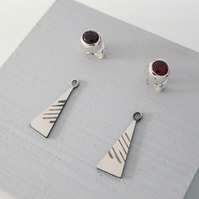 Sterling Silver & Garnet Interchangeable Triangle Stud Earrings