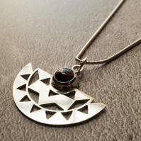 Silver & Garnet Geometric Semi Circle Necklace