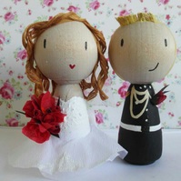 Personalised Wooden Cake Topper Dolls