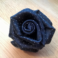 Unique upcycled eco tie rose brooch in Navy and delicate white polka dot fabric