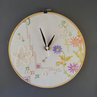 Vintage Pastel Embroidered Cloth Clock