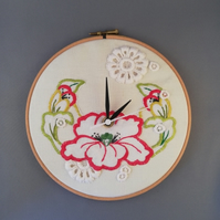 Vintage Floral Embroidered Cloth Clock