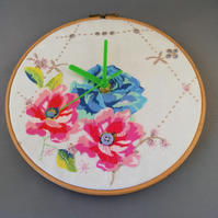 Vintage Embroidered Cloth Clock