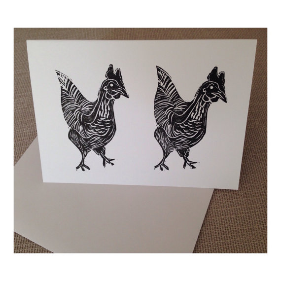 A Pair of Classy Chicks. Handmade Lino Print Blank Chicken Card.