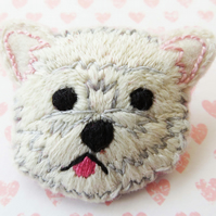 Westie Dog Brooch, Hand Embroidered