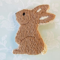 Rabbit Brooch, Hand Embroidered