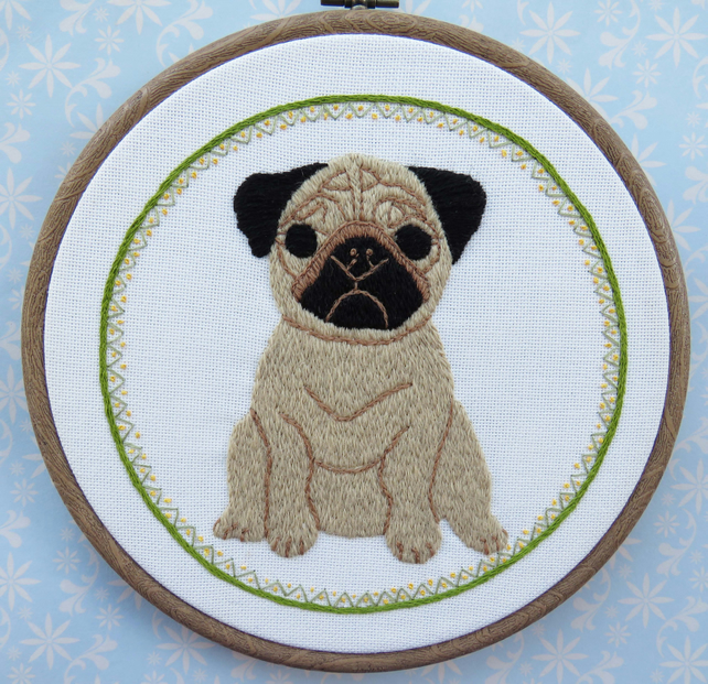 Pug Embroidery Kit