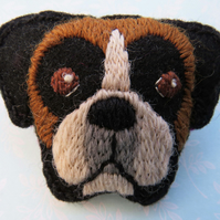 Boxer Dog Brooch, Hand Embroidered