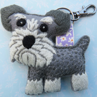 Embroidery Kit, Schnauzer, bag charm or keyring