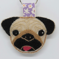 Wool Felt Pug Keyring or Bag Charm