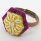 Hand Embroidered Yellow Hexagon shaped ring, hand stitched