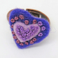 Hand Embroidered Ring, Purple heart shaped ring, hand stitched, unique