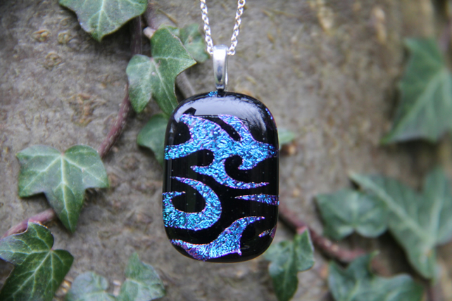 Turquoise and pink swirl dichroic glass  pendant, dichroic glass necklace, dichr