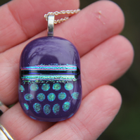 Purple patterned dichroic glass pendant,  dichroic glass necklace