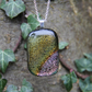 Old gold and pale orange dichroic pendant, gold dichroic glass necklace, gold di