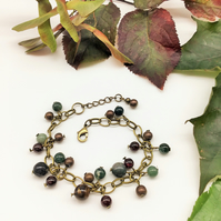 Autumn bracelet with bronze chain and woodland coloured gemstones