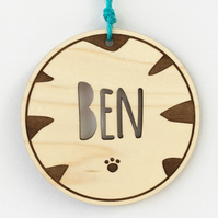 Personalised Name Wooden Nursery Ornament Sign with Tiger Print