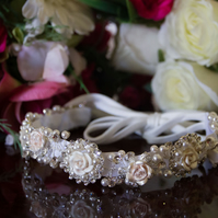 Bridal rose flower hair band with ribbon tie