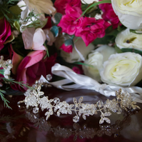 Bridal hair vine decorated with crystals, Bridal hair accessory