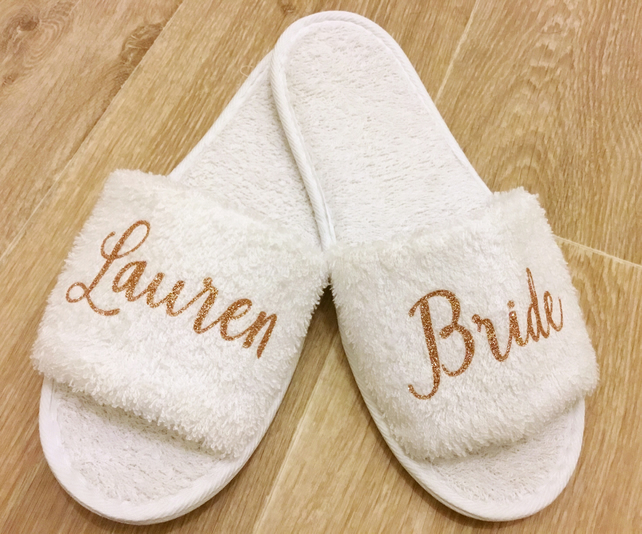 a29402815d9 Bridesmaid Slippers Personalised Wedding Slippers Bridal Party Slippers
