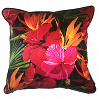 Hibiscus colour burst cushion