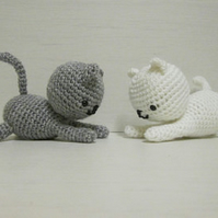 Yin Yang kittens, crochet toys, handmade, amigurumi, shower gift for baby