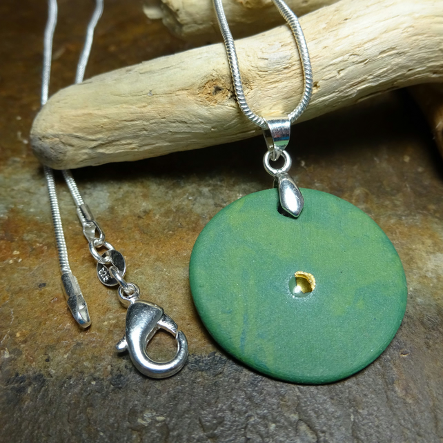 Handmade Porcelain Green Round Pendant by Cresta Ceramics 925 Silver Sterling