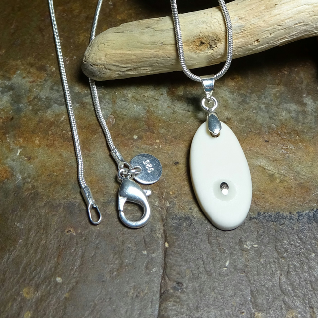 Pendant Silver Lustre Necklace by Cresta Ceramics 925 Silver Sterling Chain