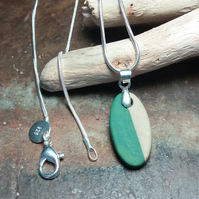 Unique Green & Beige Pendant Necklace by Cresta Ceramics 925 Silver Sterling