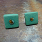 Handmade Porcelain Green Square Stud Earrings by Cresta Ceramics, Silver