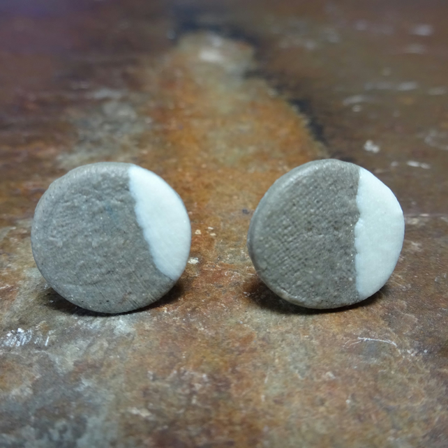 Handmade Porcelain Brown Disk Stud Earrings by Cresta Ceramics, Silver
