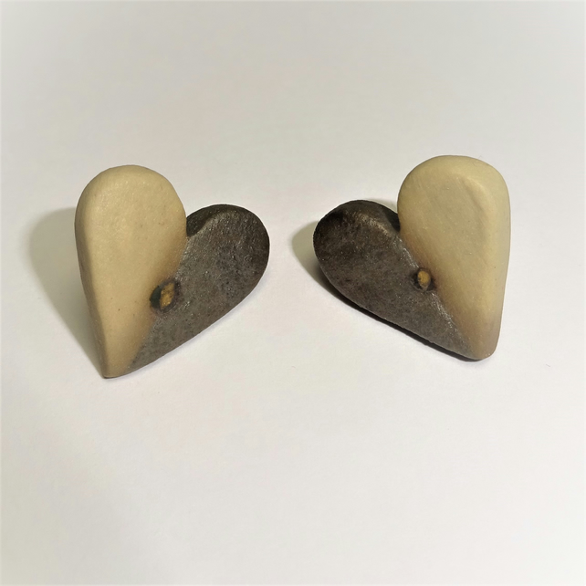 Porcelain Heart Stud Earrings Buff & Black by Cresta Ceramics Silver Back