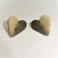 Handmade Porcelain Heart Stud Earrings Buff & Charcoal by Cresta Ceramics Silver