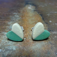 Handmade Porcelain Heart Stud Earrings by Cresta Ceramics - Green & Beige
