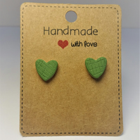 Unique Ceramic Earrings by Cresta Ceramics, Green Heart Stud Silver