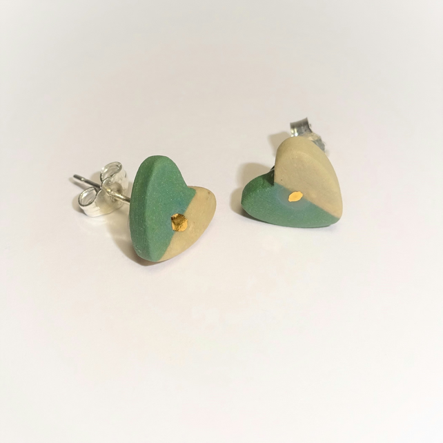 Porcelain Ceramic Green, Beige, Gold Heart Stud Earrings by Cresta Ceramics