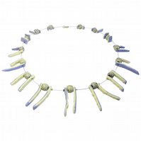 Back to the Tribal Range: Bone Inspired Lilac Necklace by Cresta Ceramics