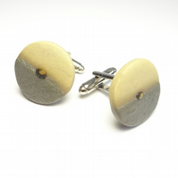 Porcelain Cuff links Charcoal & Buff Handmade Porcelain Round
